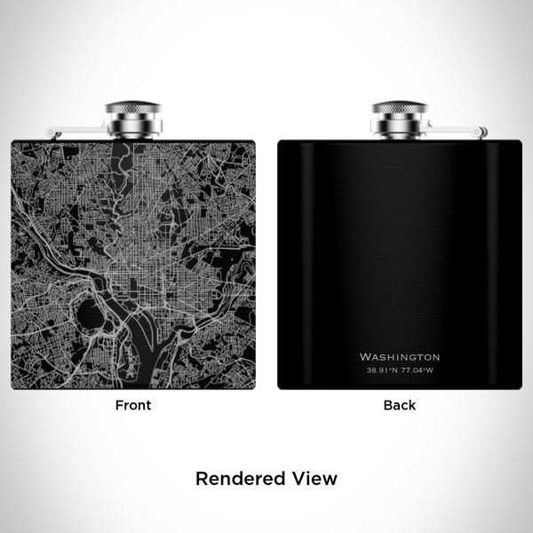 Washington - United States Map Hip Flask in Matte Black