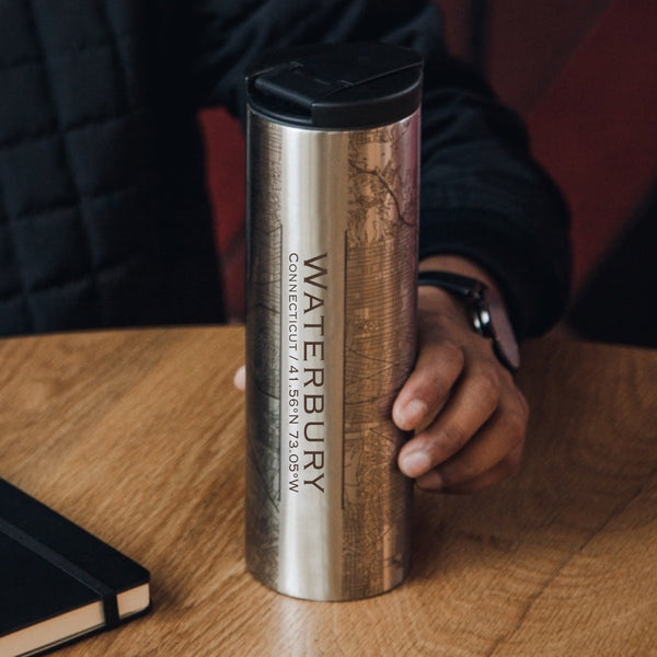 Waterbury Connecticut Custom Engraved City Map Inscription Coordinates on 17oz Stainless Steel Insulated Tumbler