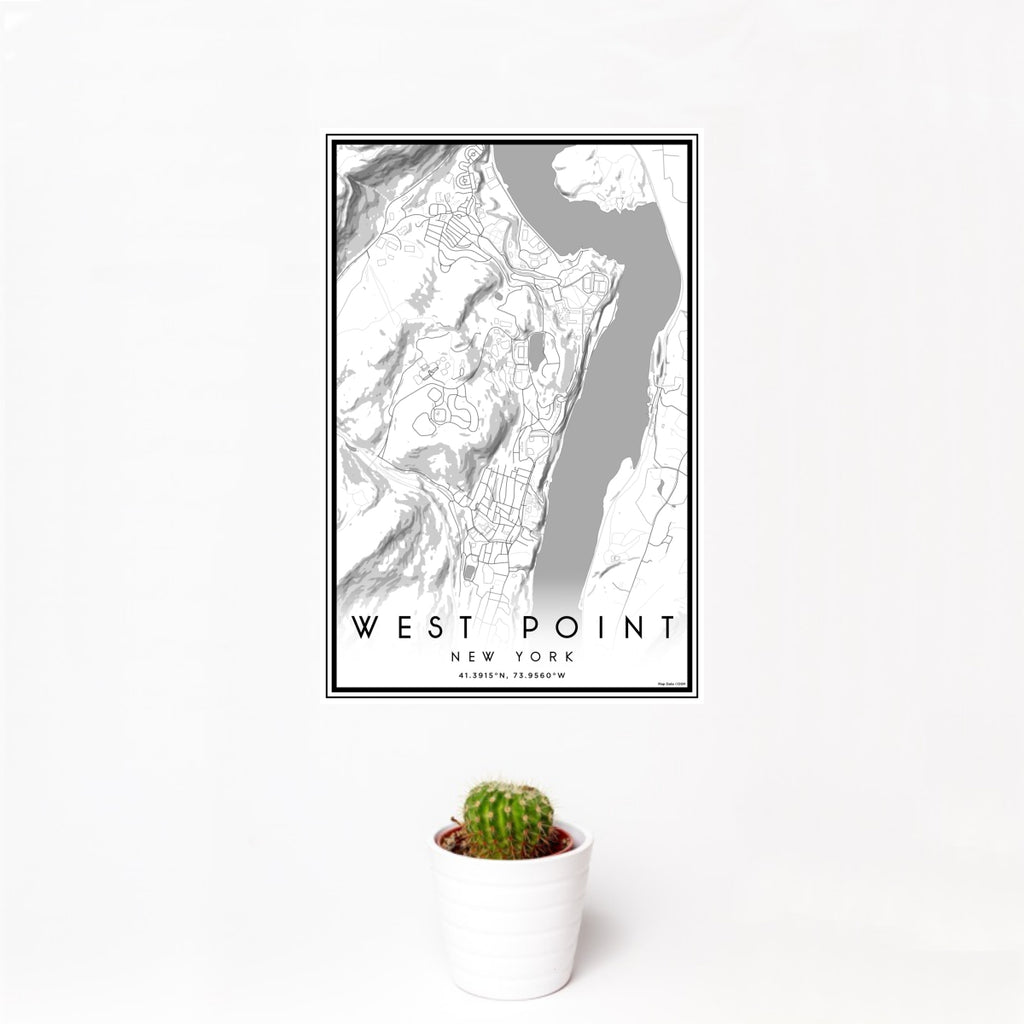 12x18 West Point New York Map Print Portrait Orientation in Classic Style With Small Cactus Plant in White Planter