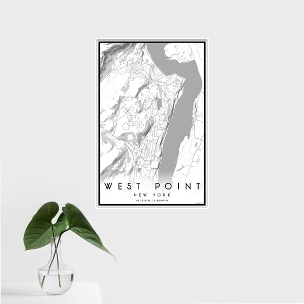 16x24 West Point New York Map Print Portrait Orientation in Classic Style With Tropical Plant Leaves in Water
