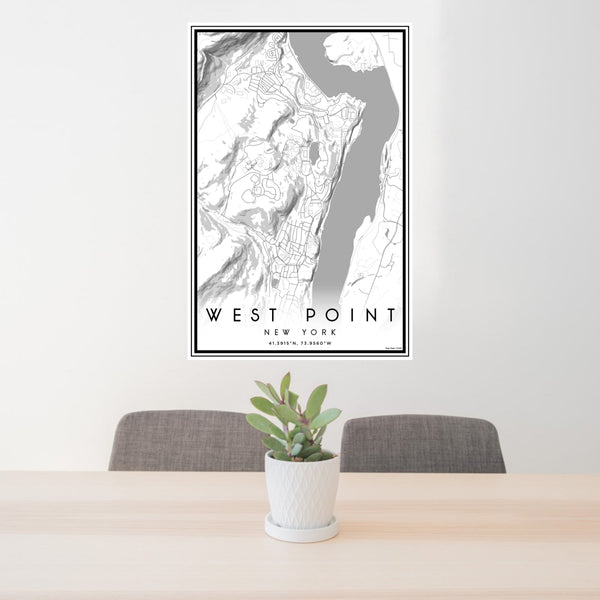 24x36 West Point New York Map Print Portrait Orientation in Classic Style Behind 2 Chairs Table and Potted Plant