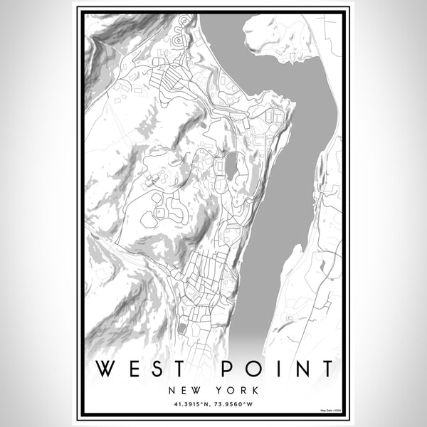 West Point New York Map Print Portrait Orientation in Classic Style With Shaded Background