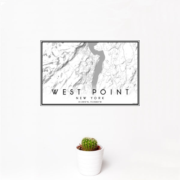12x18 West Point New York Map Print Landscape Orientation in Classic Style With Small Cactus Plant in White Planter