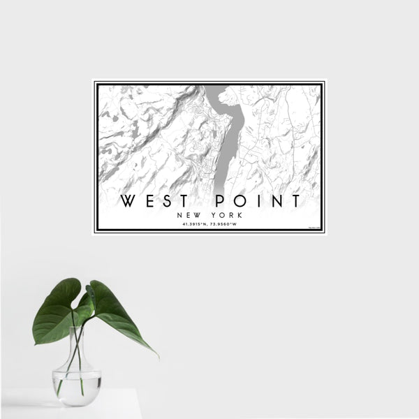 16x24 West Point New York Map Print Landscape Orientation in Classic Style With Tropical Plant Leaves in Water