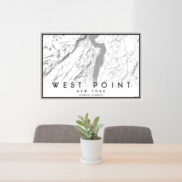 24x36 West Point New York Map Print Landscape Orientation in Classic Style Behind 2 Chairs Table and Potted Plant