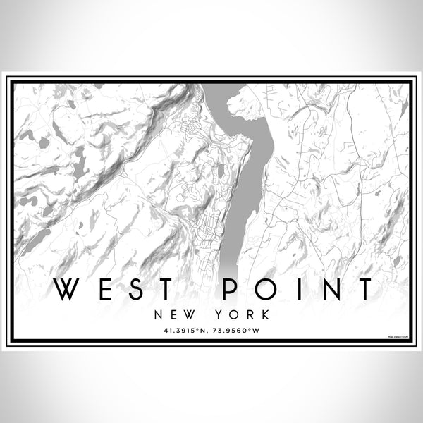West Point New York Map Print Landscape Orientation in Classic Style With Shaded Background