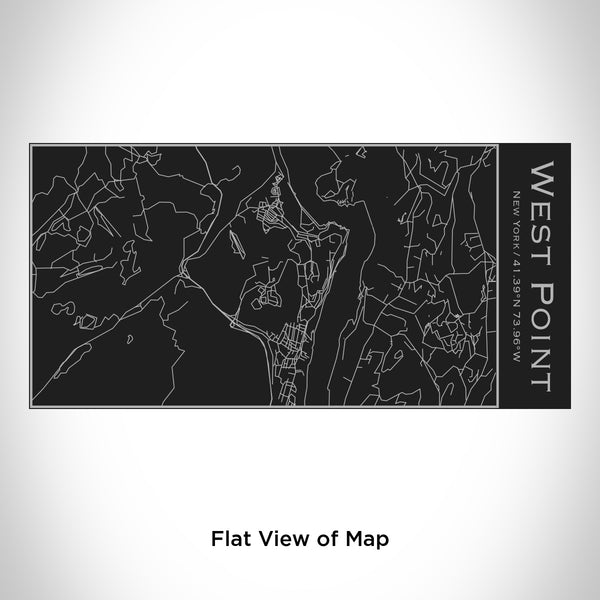 Rendered View of West Point New York Map Engraving on 17oz Stainless Steel Insulated Cola Bottle in Black