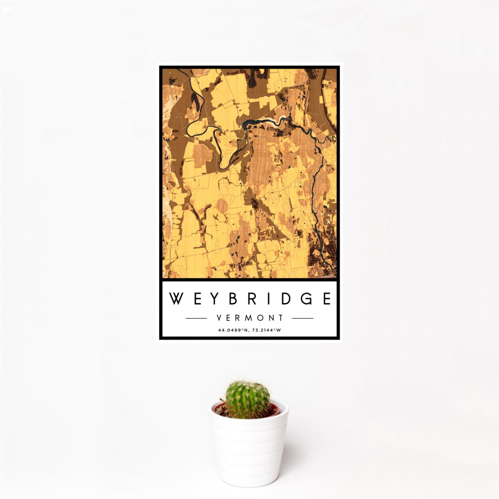 12x18 Weybridge Vermont Map Print Portrait Orientation in Ember Style With Small Cactus Plant in White Planter