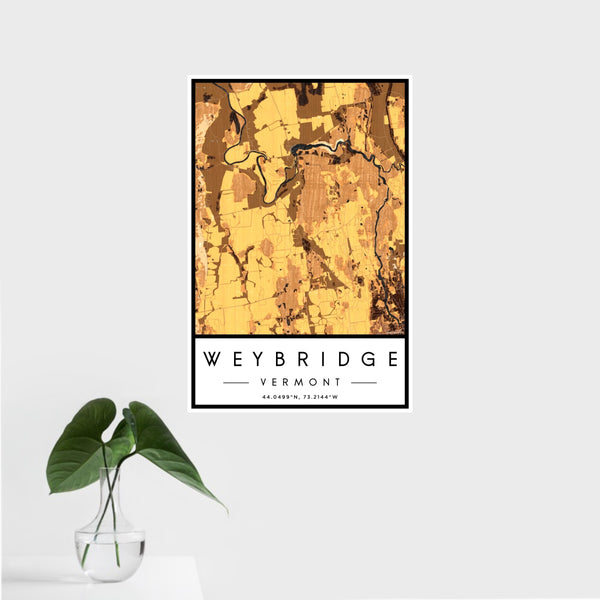 16x24 Weybridge Vermont Map Print Portrait Orientation in Ember Style With Tropical Plant Leaves in Water