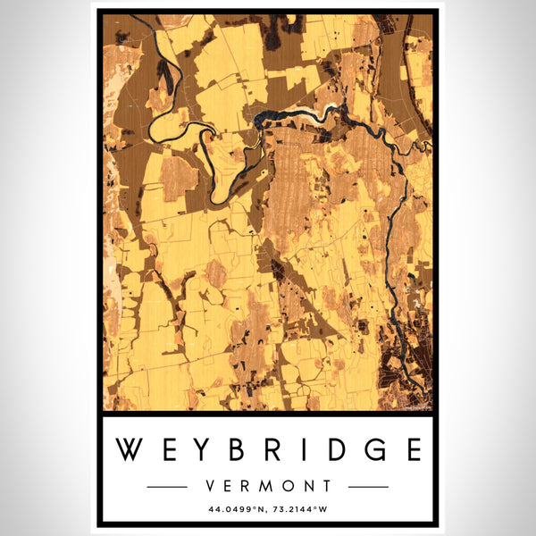 Weybridge Vermont Map Print Portrait Orientation in Ember Style With Shaded Background