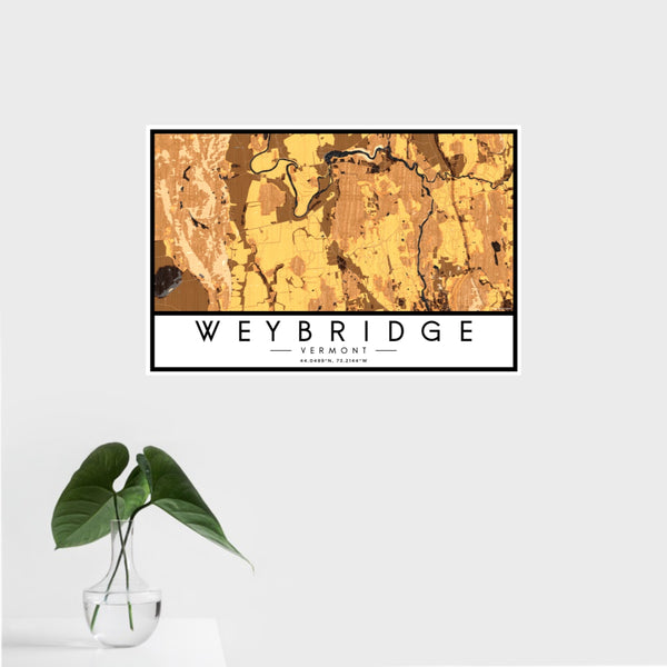 16x24 Weybridge Vermont Map Print Landscape Orientation in Ember Style With Tropical Plant Leaves in Water