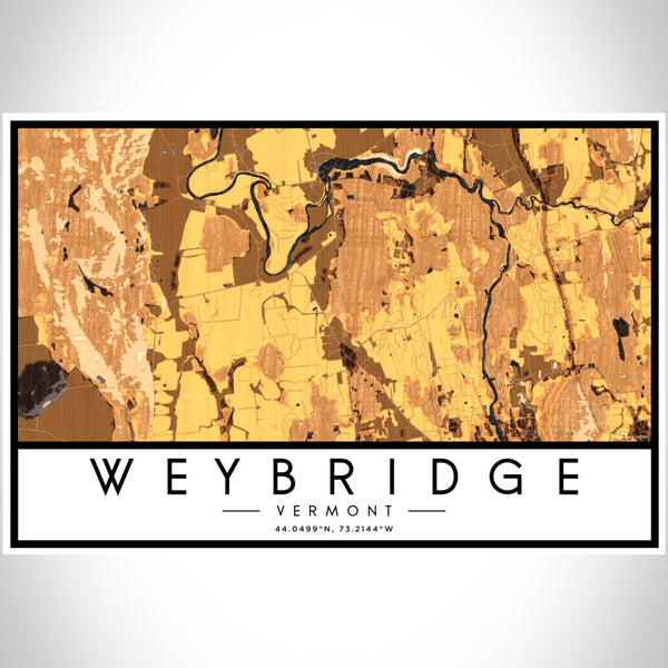 Weybridge Vermont Map Print Landscape Orientation in Ember Style With Shaded Background