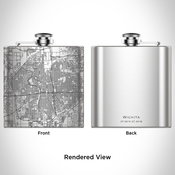 Wichita - Kansas Map Hip Flask