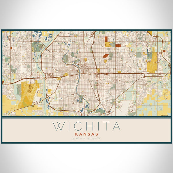 Wichita - Kansas Map Print in Woodblock