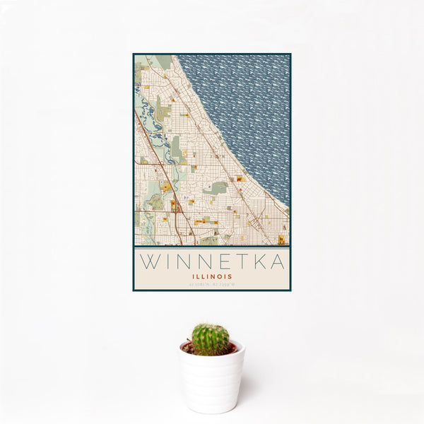 12x18 Winnetka Illinois Map Print Portrait Orientation in Woodblock Style With Small Cactus Plant in White Planter