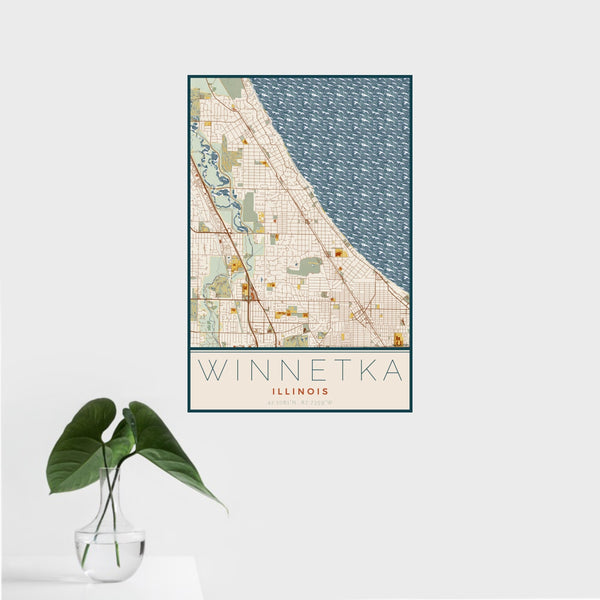 16x24 Winnetka Illinois Map Print Portrait Orientation in Woodblock Style With Tropical Plant Leaves in Water