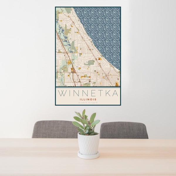 24x36 Winnetka Illinois Map Print Portrait Orientation in Woodblock Style Behind 2 Chairs Table and Potted Plant