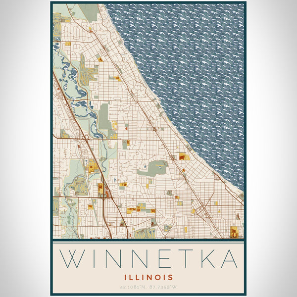 Winnetka Illinois Map Print Portrait Orientation in Woodblock Style With Shaded Background