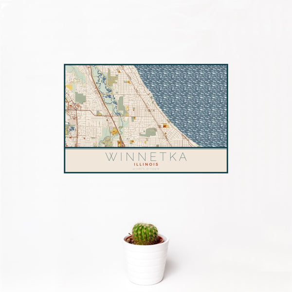 12x18 Winnetka Illinois Map Print Landscape Orientation in Woodblock Style With Small Cactus Plant in White Planter