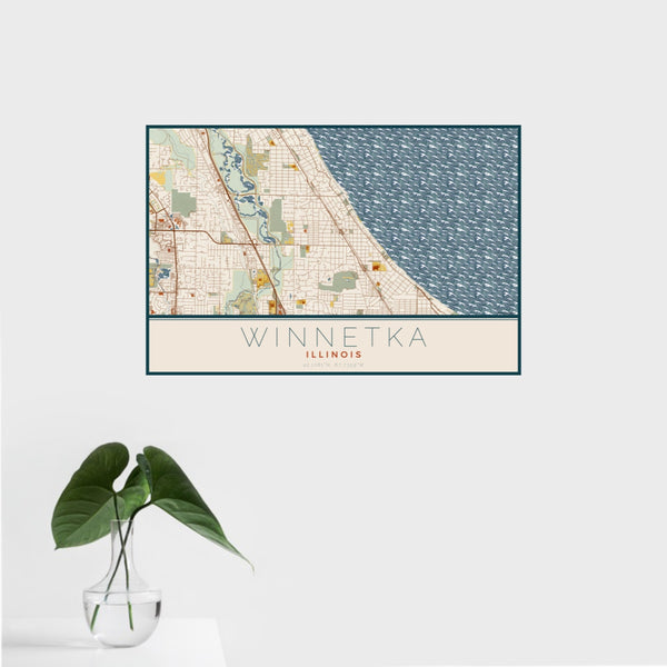 16x24 Winnetka Illinois Map Print Landscape Orientation in Woodblock Style With Tropical Plant Leaves in Water