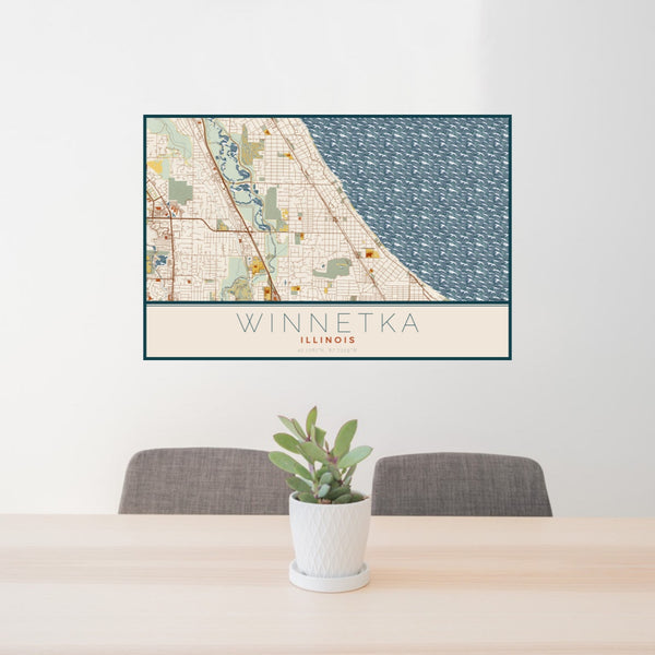 24x36 Winnetka Illinois Map Print Landscape Orientation in Woodblock Style Behind 2 Chairs Table and Potted Plant