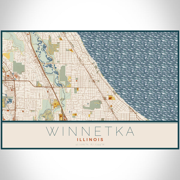 Winnetka Illinois Map Print Landscape Orientation in Woodblock Style With Shaded Background