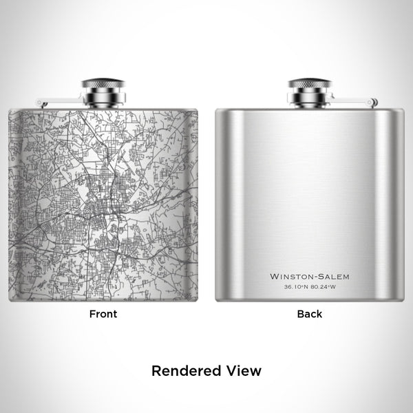 Winston-Salem - North Carolina Map Hip Flask