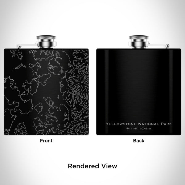 Yellowstone National Park - Wyoming Map Hip Flask in Matte Black