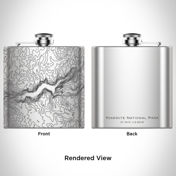 Yosemite National Park - California Map Hip Flask