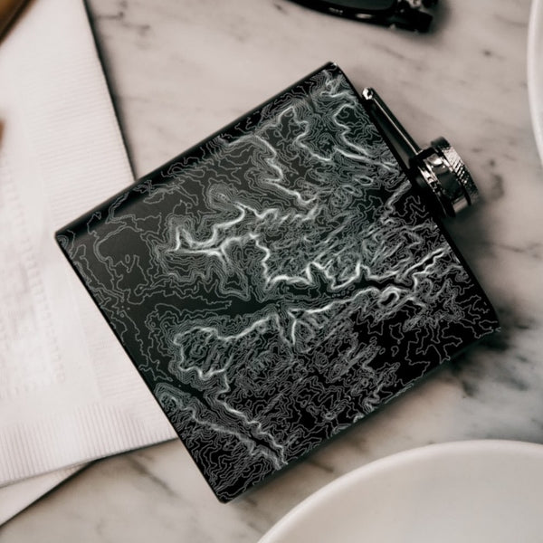 Zion National Park - Utah Map Hip Flask in Matte Black