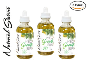3 Pack - Mega Growth Hair Elixir ( Small)  2 oz -Hair Growth Formula & Scalp Treatment