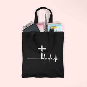 Cross Heartbeat Tote Bag