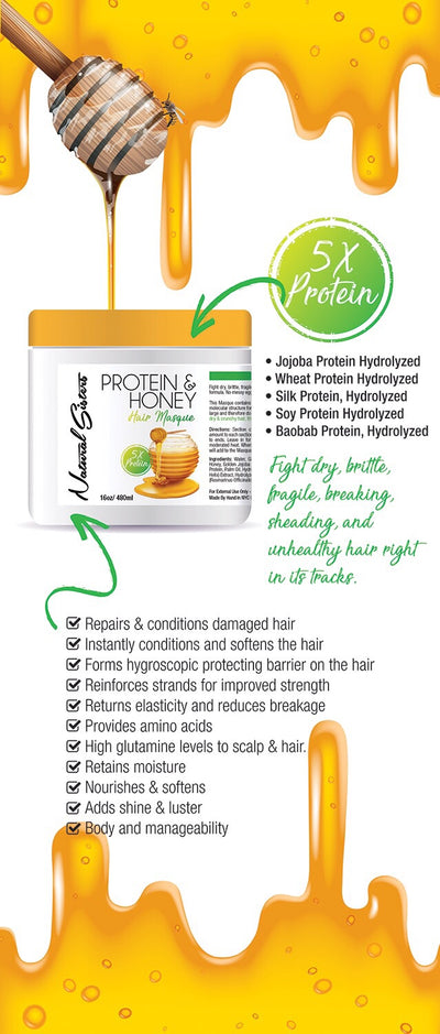 Protein and Honey Deep Conditioner : 5X Deep Conditioning Hair Masque, Natural hair, strengthening mask, protein hair care, stop breakage Salon Size 32 oz Jar