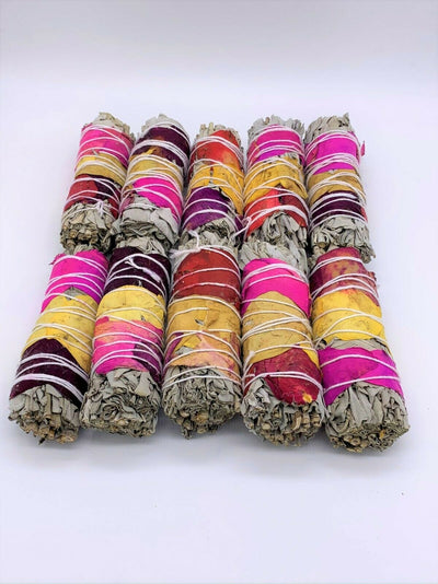 "California White Sage Smudge Sticks with Rose Petals 4"" Negativity Removal"