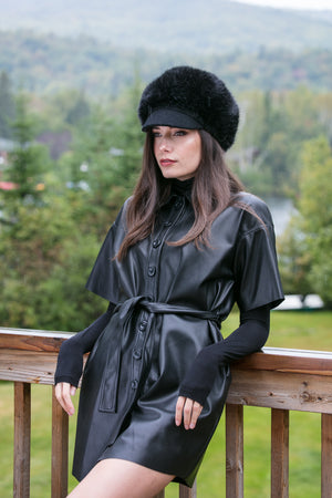 faux fur black hat
