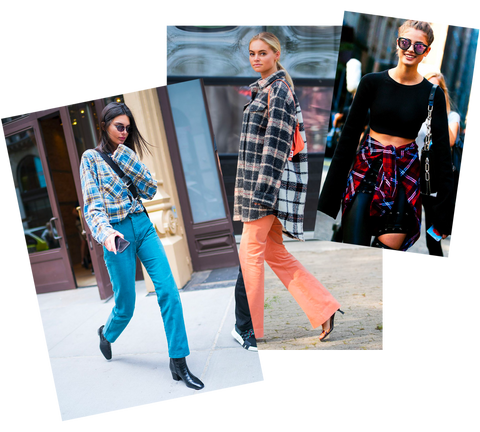 Kendall Jenner and other celebrities rocking flannel in the streets of NYC.