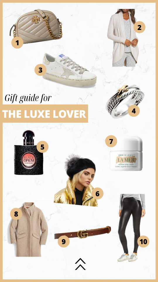 Holiday gift guide for the luxury lover. Golden goose, Tory Burch, Barefoot dreams, david yerman, la mer, YSL, Kyi Kyi beret, gucci, j crew, nordstrom, spanx leggings