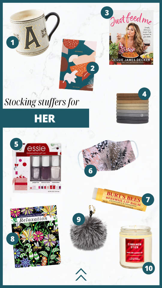 Stocking stuffers for her this holiday season. Journal, candle, coloring book, bag charm, cook book, burt's bees, coffee mug, hair ties.