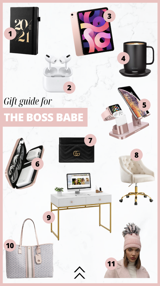 Guide guide for the boss babe. Break the glass ceiling with a planner, air pods, ipad, coffee mug, cord case, gucci card holder, charging station, office desk and chair, Tory Burch tote bag and a Kyi Kyi pom beanie