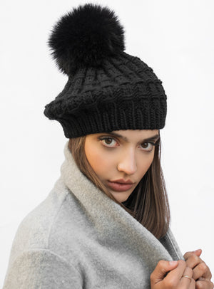 Cable Knit Beret Faux Fur