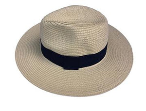 Fedora Natural with Navy Ribbon