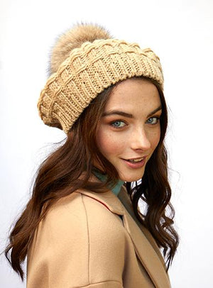 Cable Knit Beret Fur