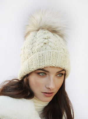 Cable Knit Fur Beanie