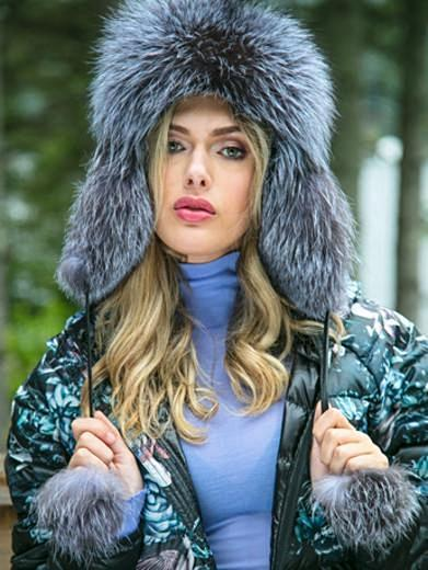 Glamorous Trapper Hat in Silver Fox
