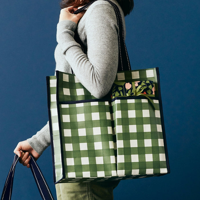 Army Gingham Pocket Tote