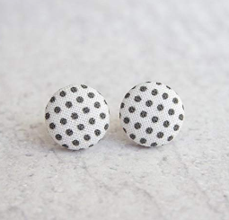 Black and White Polka Dot Fabric Button Earrings - Needle and Grain