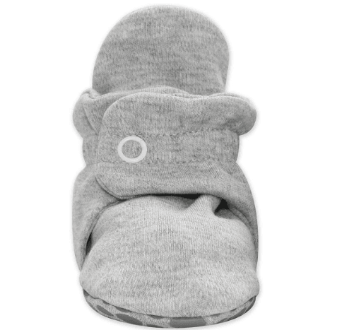 Heather Gray Cotton Gripper Baby Bootie