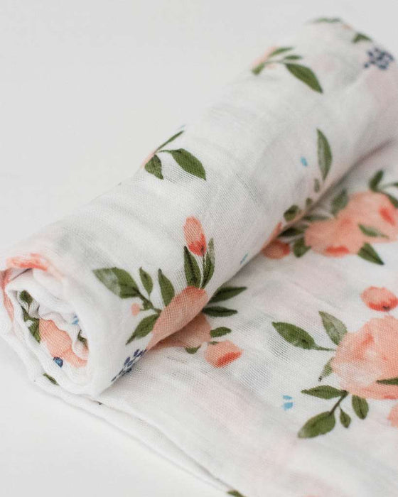 Watercolor Roses Muslin Swaddle
