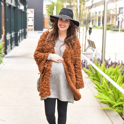 Lone Star Looking Glass maternity clothing boho style furry cardigan