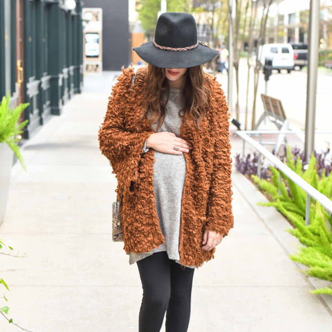 Lone Star Looking Glass Maternity clothing boho style guest blog post furry cardigan